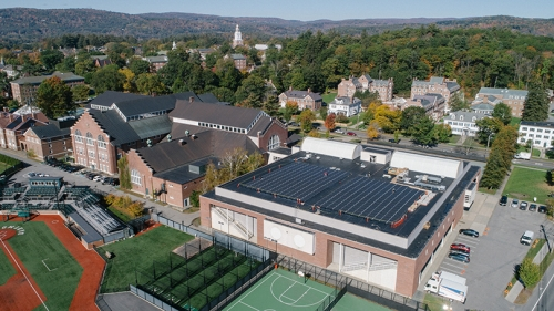 solar panels on the roof of Berry Sports Center