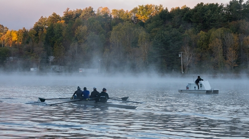 An early-morning rowing practice is underway on the Connecticut. (