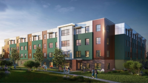 An architectural rendering shows the planned apartment complex, which is expected to open in August 2022.