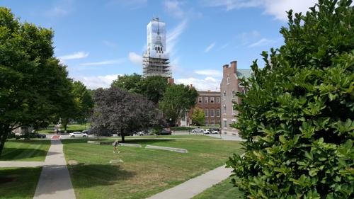 The scrim over Baker Bell Tower