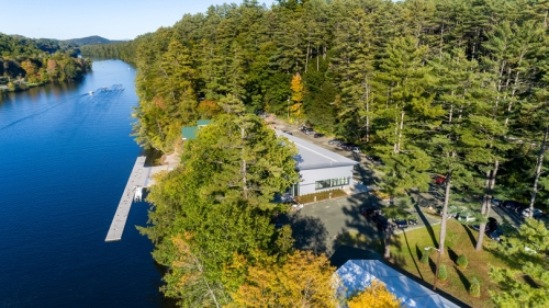 An aerial view looking north of the new boathouse