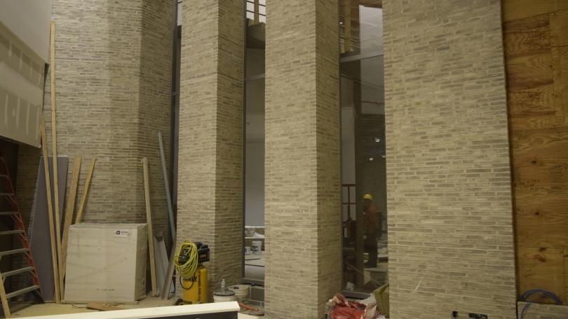 lobby brick columns