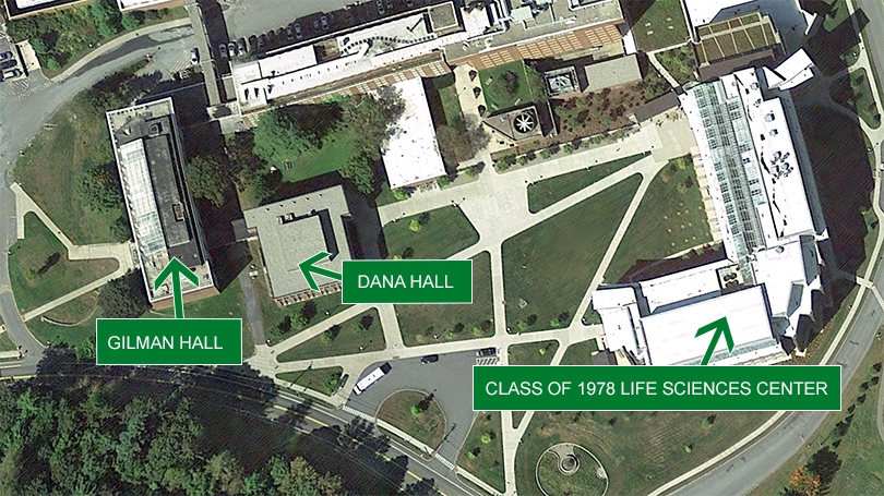 a satellite image of Dartmouth's campus